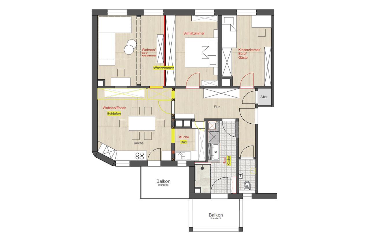 Sanierung und Änderung der Raumnutzung in Stuttgart West